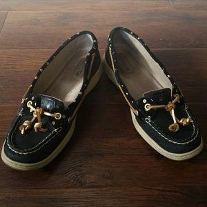 Sperry top sider black gold polka dot boat shoe 9